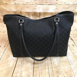 Gucci Authentic Black Monogram Canvas Tote Bag
